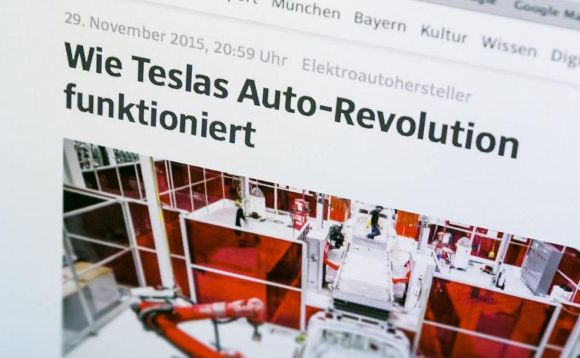 Tesla – raffiniert inszenierter Hype?Presseschau Süddeutsche Zeitung